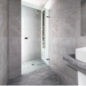 VIGO Tempo 24'' Adjustable Frameless Shower Door with Clear Glass and Stainless Steel Hardware