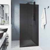 VIGO ''Zenith'' 34'' W x 74'' H Frameless Fixed Glass Shower Screen in Matte Black with Black Glass