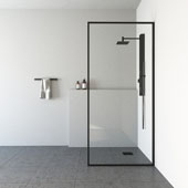 Meridian 34''W, Fixed Glass Shower Screen in Matte Black