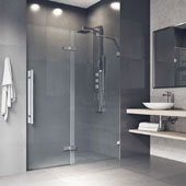 Rochelle Adjustable Frameless Hinged Shower Door In Stainless Steel, 48''W x 74''H