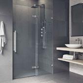 Powell Adjustable Frameless Hinged Shower Door In Stainless Steel, 74''H