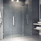 Seneca Adjustable Frameless Hinged Shower Door In Chrome, 74''H