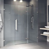 Seneca Adjustable Frameless Hinged Shower Door In Stainless Steel, 74''H