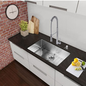 30'' Undermount Kitchen Sink with Curved Corners, Bottom Grid, Cutting Board and Strainer, Stainless Steel Finish