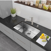 32'' Undermount Stainless Steel 16 Gauge Kitchen Sink with Curved Corners, Bottom Grid, Cutting Board and Strainer