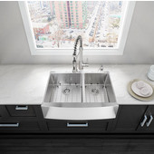 33'' Farmhouse Kitchen Sink with Curved Corners in Stainless Steel Finish with (2) Grids, (2) Strainers and Cutting Board