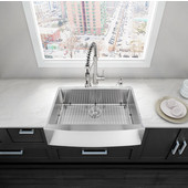 33'' Farmhouse Stainless Steel 16 Gauge Single Bowl Kitchen Sink with Curved Corners, Bottom Grid, Cutting Board and Strainer