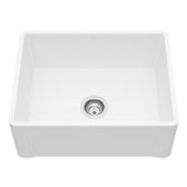 24� Casement Front Matte Stone Farmhouse Kitchen Sink with Strainer and Cutting Board, 24'' W x 18'' D x 9-5/8'' H