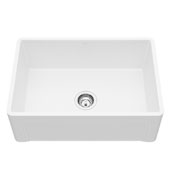 "27"" Casement Front Matte Stone Farmhouse Kitchen Sink with Strainer and Cuttting Board, 27'' W x 18'' D x 9-5/8'' H"
