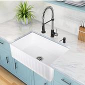 VIGO 30'' Matte Stone Farmhouse Sink, Matte White, 30'' W x 18'' D x 9-5/8'' H