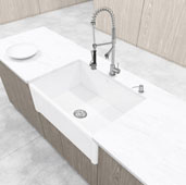 Vigo 30'' Casement Front Matte Stone Farmhouse Kitchen Sink in Matte White, 30'' W x 18'' D x 9-5/8'' H