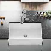 Matte Stone™ 30'' W White Reversible Single-Basin Standard Undermount Casement Apron Front Kitchen Sink Set, 30'' W x 18'' D x 9-5/8'' H
