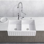 33'' Wide Matte Stone Rectangular Reversible Double-Bowl Farmhouse Sink, Matte White Finish