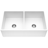 Double Bowl Crown Apron Front Matte Stone™ Farmhouse Kitchen Sink In Matte White Finish, Strainer Included, 33''W X 18''D X 8-3/8''H