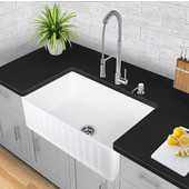 33'' Matte Stone Farmhouse Sink in Matte White with Cutting Board and Strainer, 33''W x 18''D x 9-5/8''H