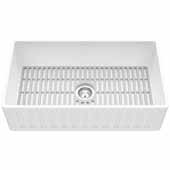 Matte Stone™ 33'' W White Reversible Single-Basin Standard Undermount Slotted Apron Front/Farmhouse Residential/Commercial Kitchen Sink In Matte White Set With Silicone Grid in Gray