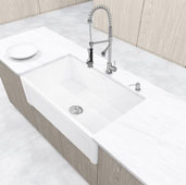 Vigo 33 Casement Front Matte Stone Farmhouse Kitchen Sink in Matte White, 33 W x 18 D x 9-5/8 H