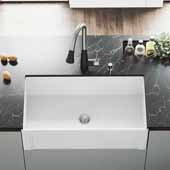 Matte Stone™ 33'' W White Reversible Single-Basin Standard Undermount Casement Apron Front Kitchen Sink Set, 33'' W x 18'' D x 9-5/8'' H