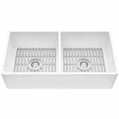 "White Matte Stone™ Flat Apron Front Farmhouse /Undermount Kitchen Sink, 36'' W x 18'' D x 9-5/8"" H"