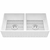 "Matte Stone™ 36'' W  White Reversible Double-Basin Standard Undermount Slotted Apron Front/ Kitchen Sink Set With Silicone Grids in Gray, 36'' W x 18'' D x 9-5/8"" H"