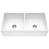 Double Bowl Crown Apron Front Matte Stone™ Farmhouse Kitchen Sink In Matte White Finish, Strainer Included, 36''W X 18''D X 8-3/8''H