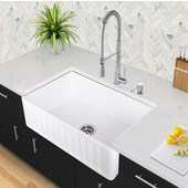36'' Matte Stone Farmhouse Sink in Matte White with Cutting Board and Strainer, 36''W x 18''D x 9-5/8''H