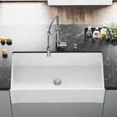 Matte Stone™ 36'' W White Reversible Single-Basin Standard Undermount Casement Apron Front Kitchen Sink Set, 36'' W x 18'' D x 9-5/8'' H