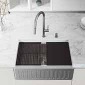30'' W Oxford Single Bowl Slotted Apron Front Stainless Steel Farmhouse Kitchen Sink with Accessories, 30'' W x 20-1/2'' D x 9'' H