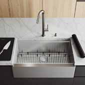 33'' W Oxford Single Bowl Apron Front Stainless Steel Farmhouse Kitchen Sink with Accessories, 33'' W x 20-1/2'' D x 10'' H