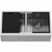"""Oxford 36'' W Double Bowl Oxford Apron Front Stainless Steel Farmhouse Kitchen Sink with Accessories, 36"""" W x 20 -1/2'' D x 9'' H"""