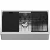36'' W Oxford Single Bowl Apron Front Stainless Steel Farmhouse Kitchen Sink with Accessories,  36'' W x 20-1/2'' D x 9'' H