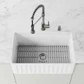 27'' W Gray Silicone Kitchen Sink Protective Bottom Grid for Single Basin 30'' Sink, 27'' W x 15''D x 14-3/4'' H