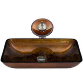 VIG-VGT007BNRCT, Rectangular Russet Glass Vessel Sink and Waterfall Faucet Set in Brushed Nickel