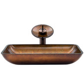 VIG-VGT007RBRCT, Rectangular Russet Glass Vessel Sink and Waterfall Faucet Set in Oil Rubbed Bronze, 22-1/4'' W x 14-1/2'' D x 4-1/2'' H