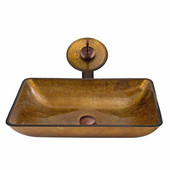 Rectangular Copper Glass Vessel Sink And Waterfall Faucet Set In Oil Rubbed Bronze - 14-1/8''L x 22-1/4''W x 4-1/2''H