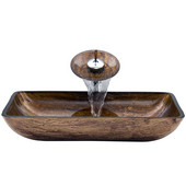 VIG-VGT021CHRCT, Rectangular Amber Sunset Glass Vessel Sink and Waterfall Faucet Set in Chrome, 22-1/4'' W x 14-1/2'' D x 4-1/2'' H