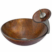 Kenyan Twilight Glass Vessel Sink And Waterfall Faucet Set In Brushed Nickel