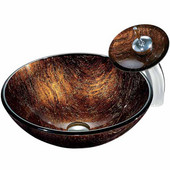Kenyan Twilight Glass Vessel Sink And Waterfall Faucet Set In Chrome - 16-1/2'' Diameter x 6''H