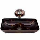 VIG-VGT033BNRCT, Rectangular Brown and Gold Fusion Glass Vessel Sink and Waterfall Faucet Set in Brushed Nickel