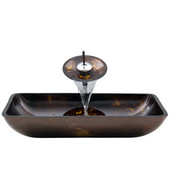 VIG-VGT033CHRCT, Rectangular Brown and Gold Fusion Glass Vessel Sink and Waterfall Faucet Set in Chrome, 22-1/4'' W x 14-1/2'' D x 4-1/2'' H