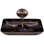 VIG-VGT033RBRCT, Rectangular Brown and Gold Fusion Glass Vessel Sink and Waterfall Faucet Set in Oil Rubbed Bronze, 22-1/4'' W x 14-1/2'' D x 4-1/2'' H