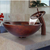 Brown And Gold Fusion Glass Vessel Sink And Waterfall Faucet Set In Oil Rubbed Bronze - 16-1/2'' Diameter x 6''H