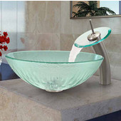 Icicles Glass Vessel Sink And Waterfall Faucet Set In Brushed Nickel