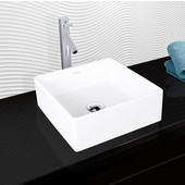Bavaro Composite Vessel Sink and Dior Bathroom Vessel Faucet Set in Chrome w/ Pop up Drain, 14-1/2'' W x 14-1/2'' D x 5'' H