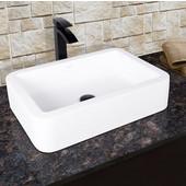 Navagio Composite Vessel Sink and Duris Bathroom Vessel Faucet Set in Matte Black w/ Pop up Drain, 23'' W x 16'' D x 5-3/8'' H