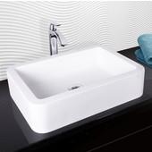 Navagio Composite Vessel Sink and Linus Bathroom Vessel Faucet Set in Chrome w/ Pop up Drain, 23'' W x 16'' D x 5-3/8'' H