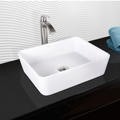 Sirena Composite Vessel Sink and Linus Bathroom Vessel Faucet Set in Brushed Nickel w/ Pop up Drain, 18'' W x 14-1/2'' D x 5'' H
