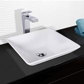 Matira Composite Vessel Sink and Blackstonian Bathroom Vessel Faucet Set in Chrome w/ Pop up Drain, 16'' W x 16'' D x 4-5/8'' H