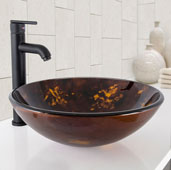 Brown and Gold Fusion Glass Vessel Bathroom Sink Set with Seville Vessel Faucet in Matte Black, 16-1/2'' Diameter x 6'' H
