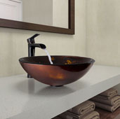 Brown and Gold Fusion Glass Vessel Bathroom Sink and Niko Faucet Set in Antique Rubbed Bronze, 16-1/2'' Diameter x 6'' H